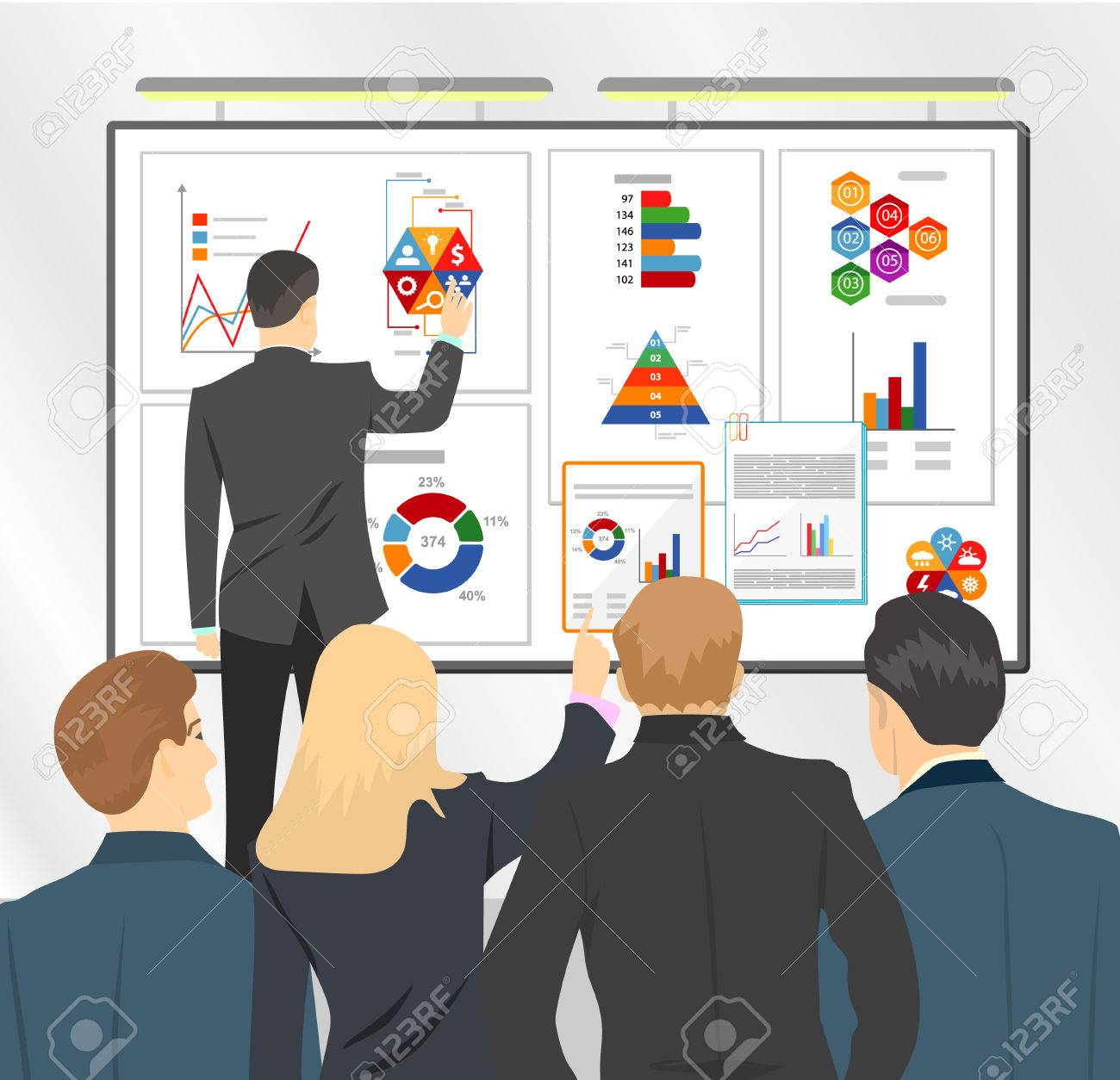 sales director presenting business plan to team marketing plan in board flat vector stock