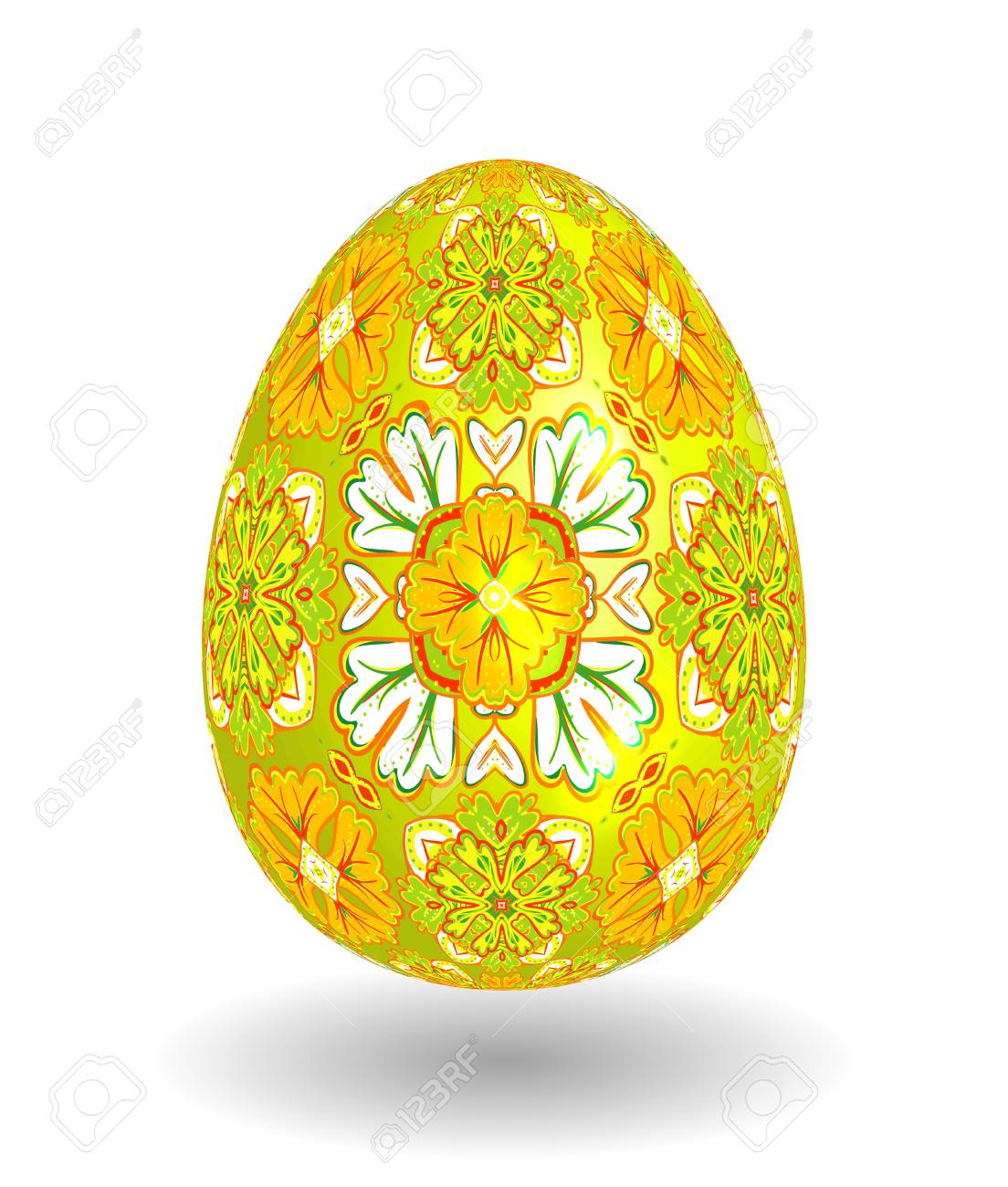 White Single Vector Easter Egg With Abstract Colorful Pattern