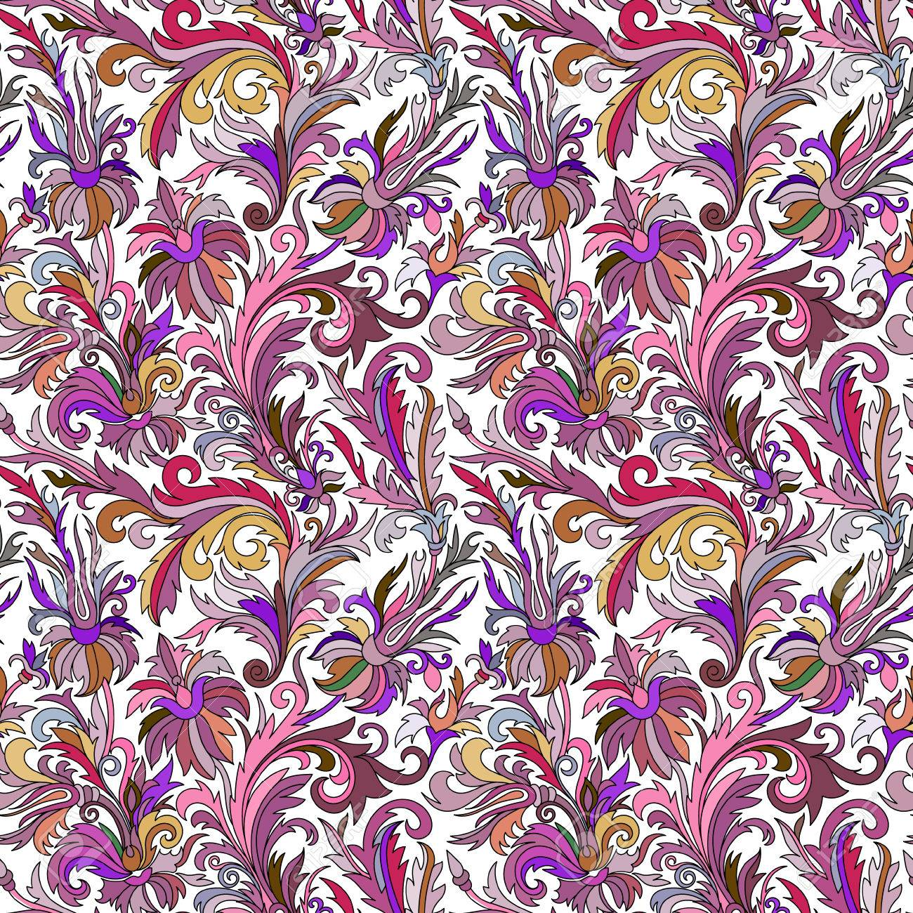 Doodle Bunte Pastell Blumen Hand Nahtlose Muster Zeichnen Vektor