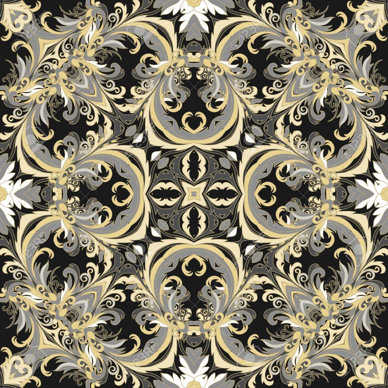 Baroque Style Floral Wallpaper Seamless Vector Pattern Square Tile Black White Gold Tone