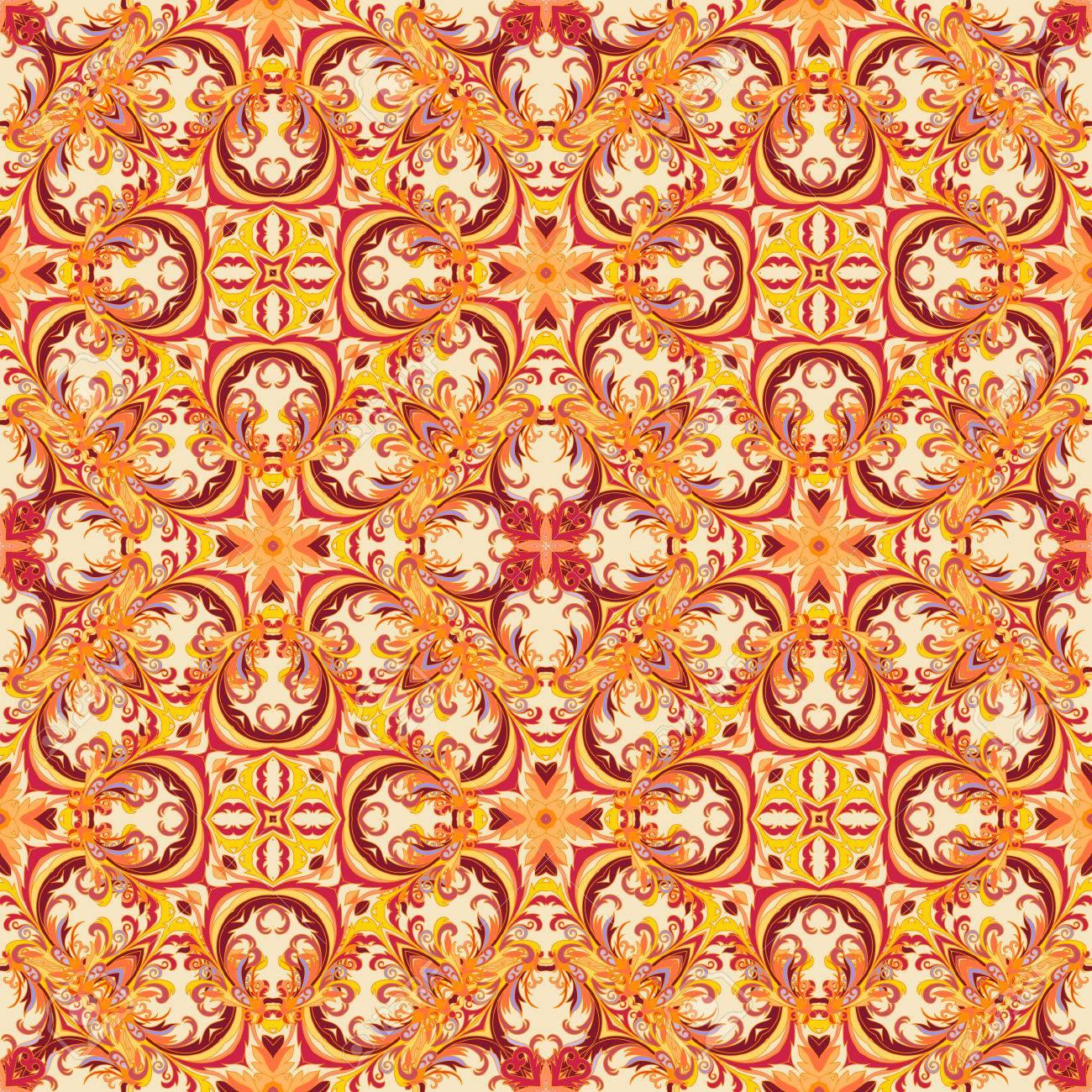Papier Peint Floral De Style Baroque Motif Vectoriel Sans Couture