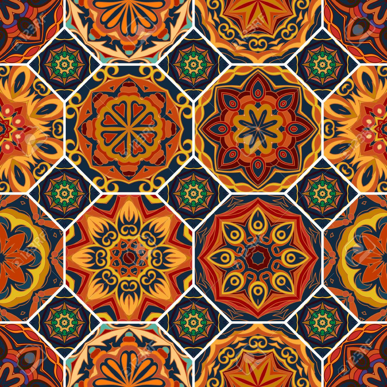 Gorgeous Floral Tile Design Moroccan Or Mediterranean Octagon Tiles Tribal Ornaments For Wallpaper
