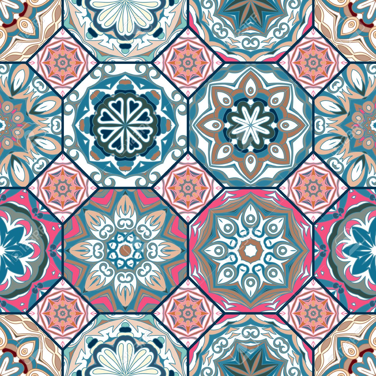 ゴージャスな花柄のタイル デザイン モロッコや地中海の八角形の