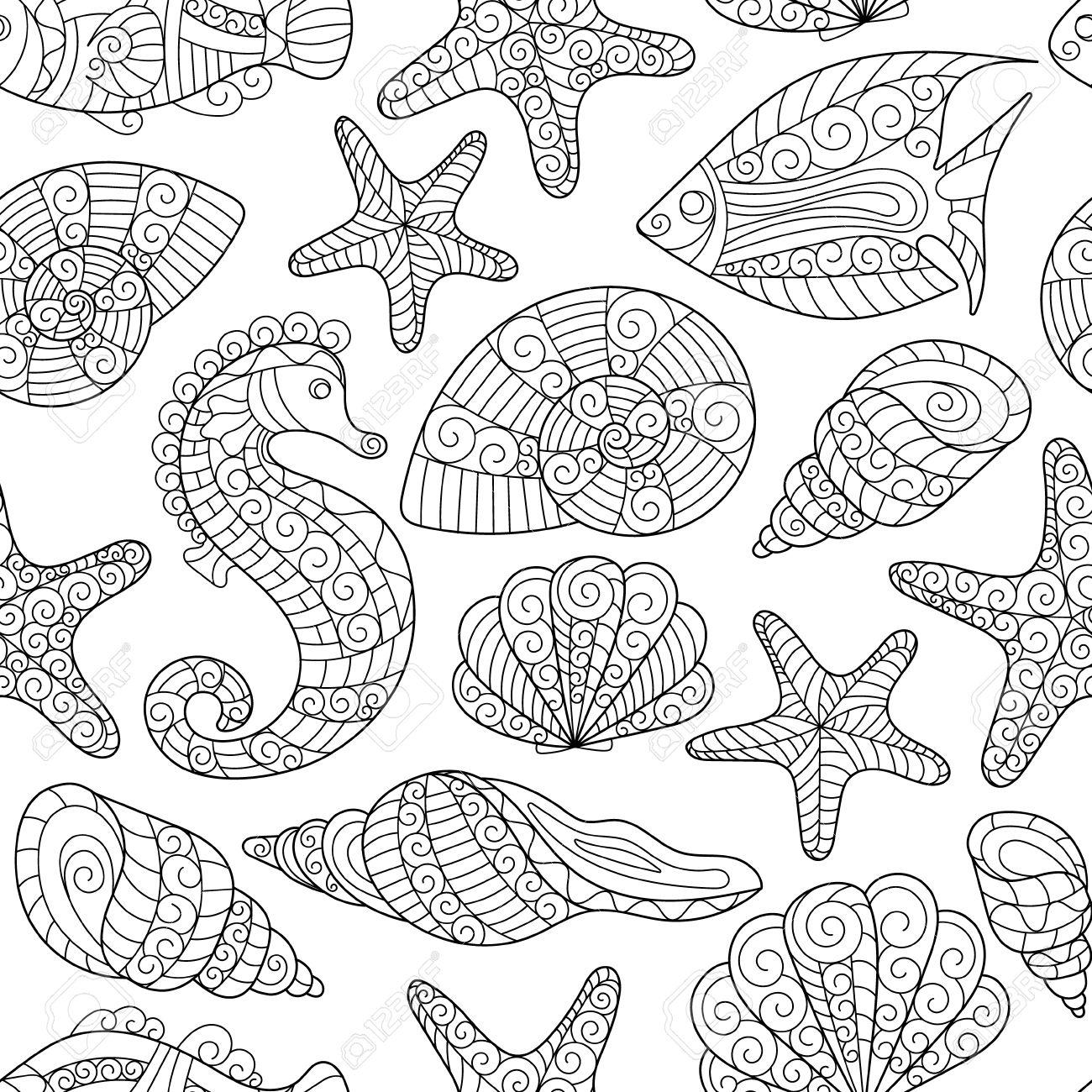 Modelo Inconsútil Blanco Y Negro Para Colorear Conchas De Mar Estrellas De Mar Caballitos De Mar Peces Doodle De Dibujo A Mano De Fondo