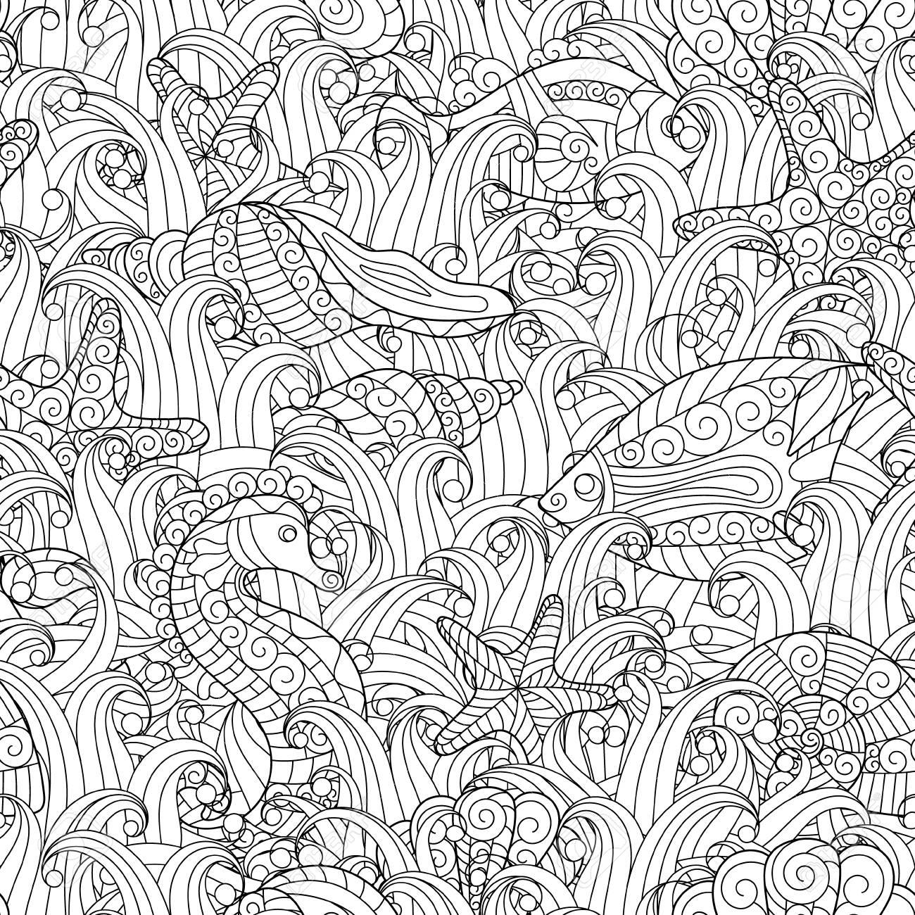 seamless noir et blanc pour le livre de coloriage coquillages etoiles de mer cheval de mer poissons entre les algues main doodle dessin fond