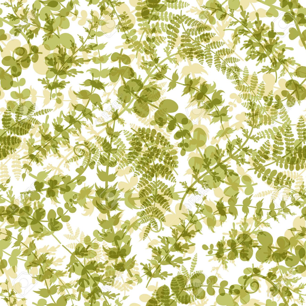 Seamless Plant Background Endless Pattern With Green Twigs And Leaves Silhouette Vector Illustration On