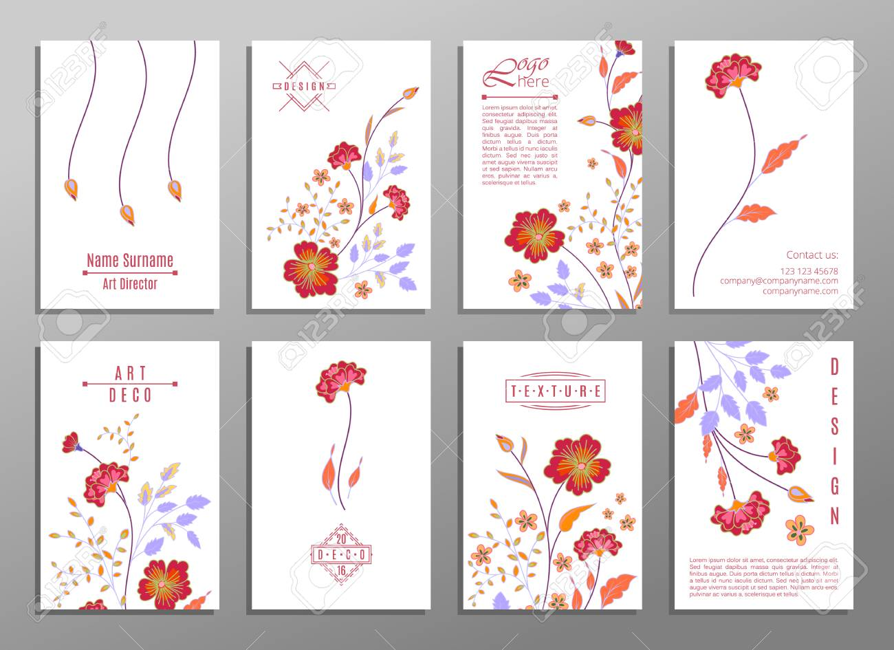 collection of cute universal cards with flowers for your design