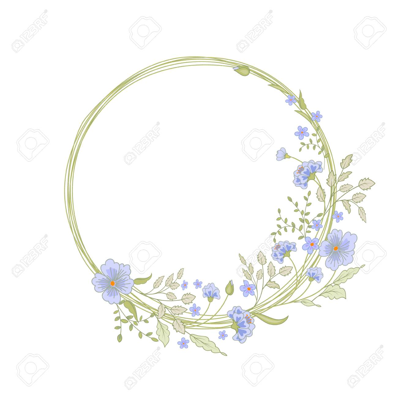 Round Floral Frame. Cute Flowers Arranged Un A Shape Of The Wreath ...