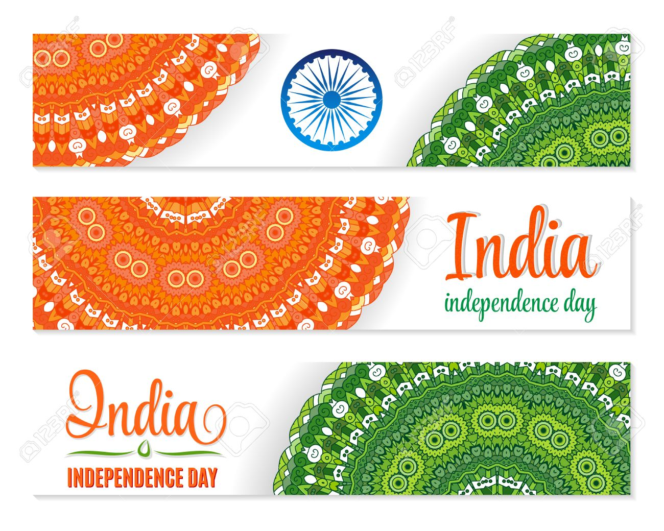 Colors website ashoka - Independence Day India Banner Set Traditional Mandala Ornament Indian Flag Colors
