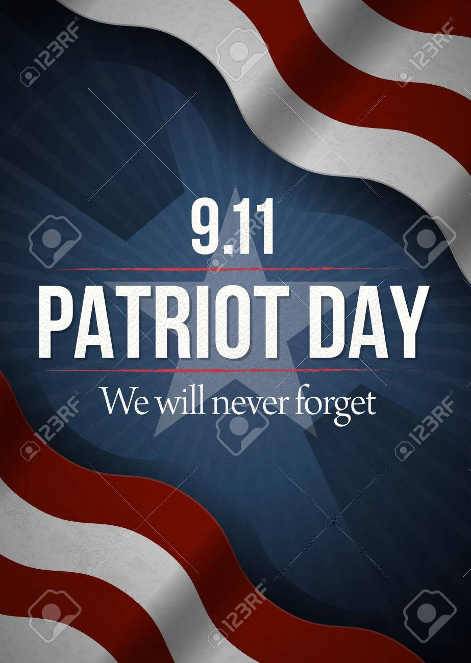 We Will Never Forget. 9 11 Patriot Day background, American Flag stripes background. Patriot Day September 11, 2001 Poster Template, we will never forget, Vector illustration for Patriot Day. - 61450019