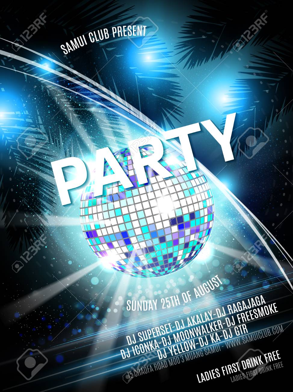 vector party flyer design with disco ball on shiny background