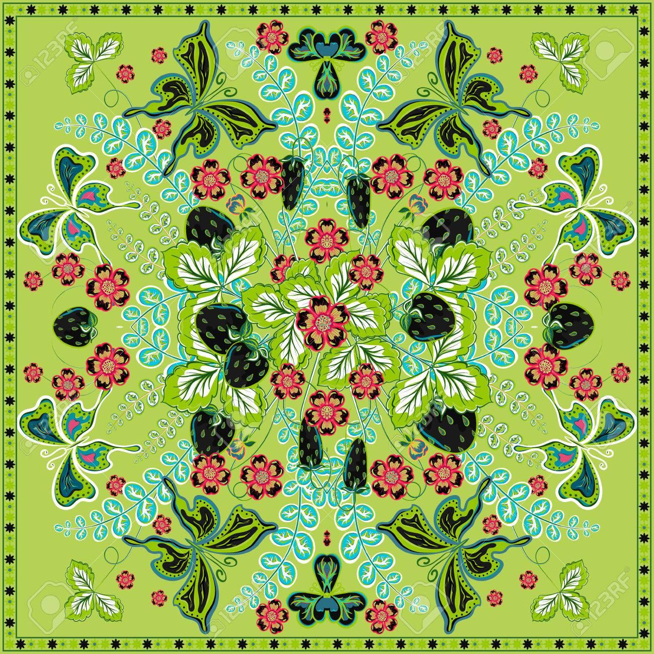 dernière mode chaussures exclusives riche et magnifique Fond floral, motif décoratif couleur fraise et le papillon et le cadre de  dentelle ornée. Bandana tissu châle imprimé, le cou foulard de soie, la ...