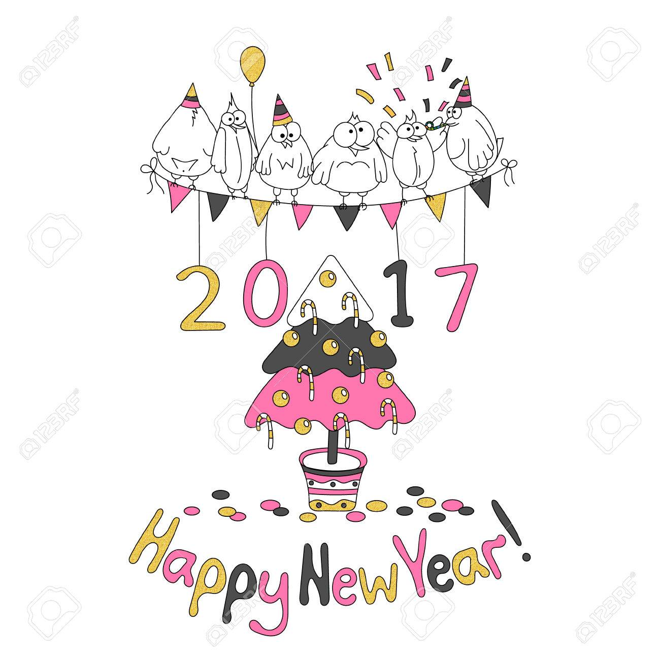 Happy New Year Greeting Card With Cartoon Funny Birds. Hand Draw Vector  Illustration. Trendy