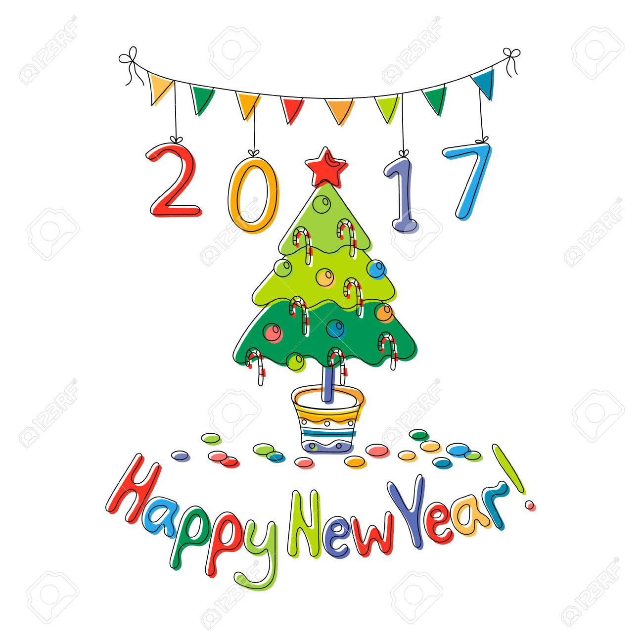Happy New Year Greeting Card With Fir Cartoon Style Hand Draw