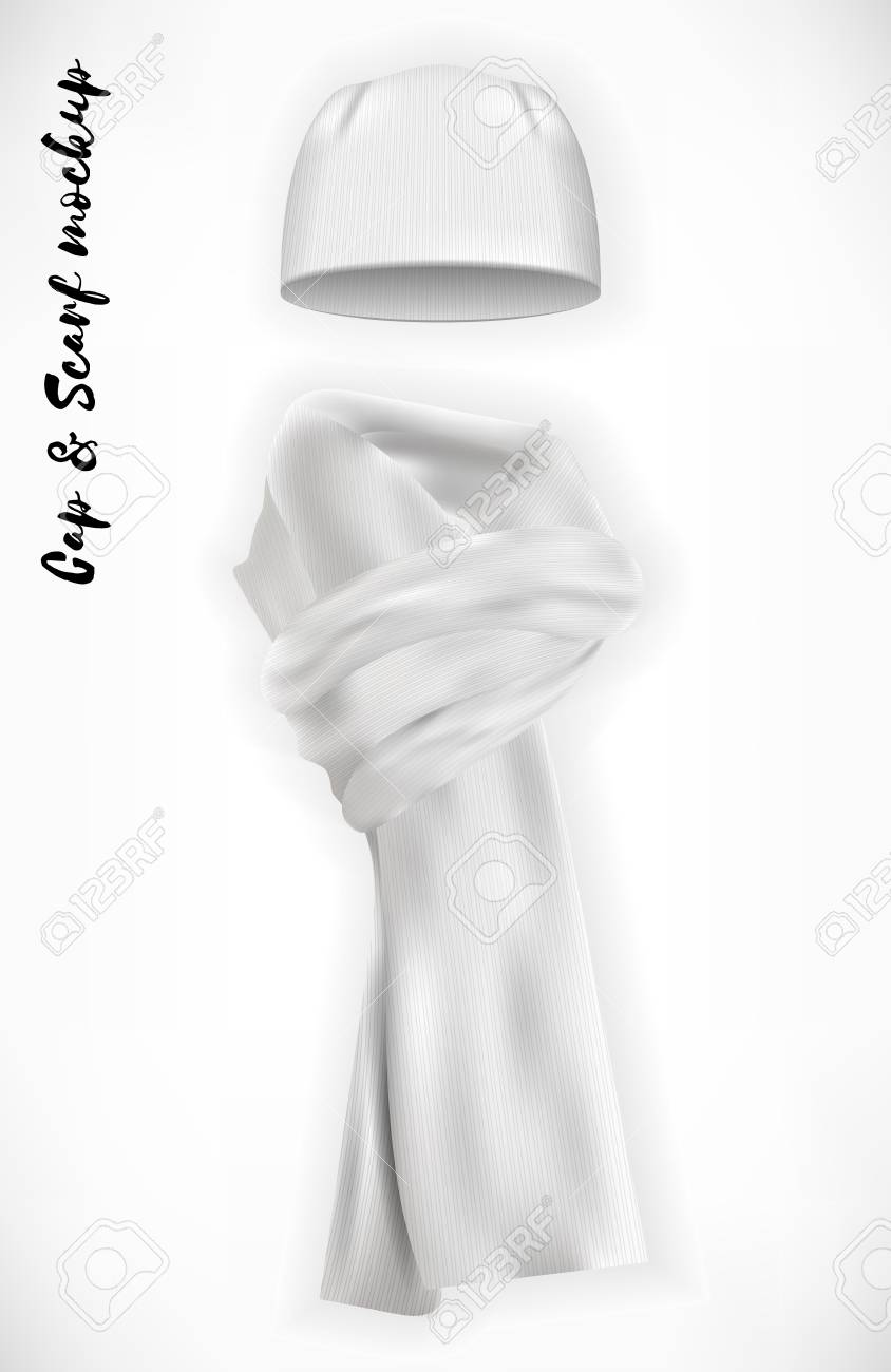 Knitted cap and scarf, vector mockup set