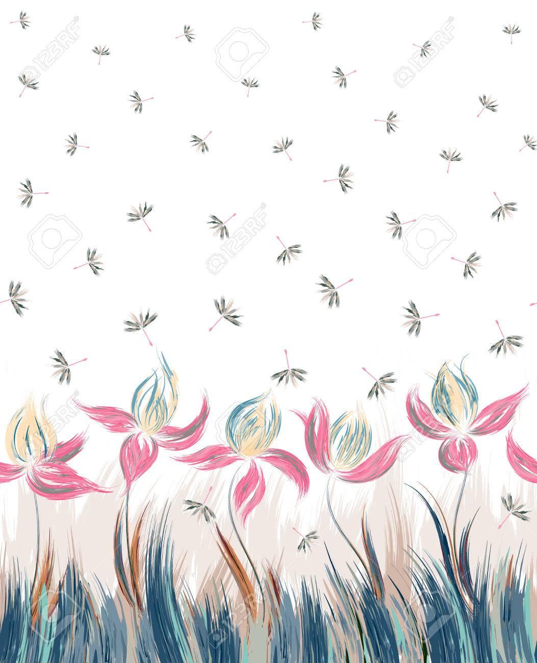 アイリスとタンポポの種の垂直花柄シームレス パターン。花の飾りの創造