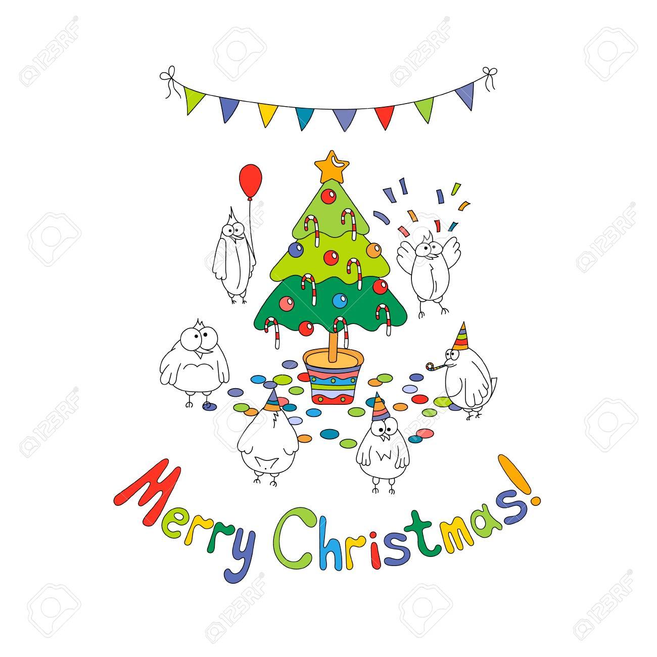 Frohe Weihnachten Grußkarte Mit Weißen Cartoon Lustige Vögel Rund Um ...