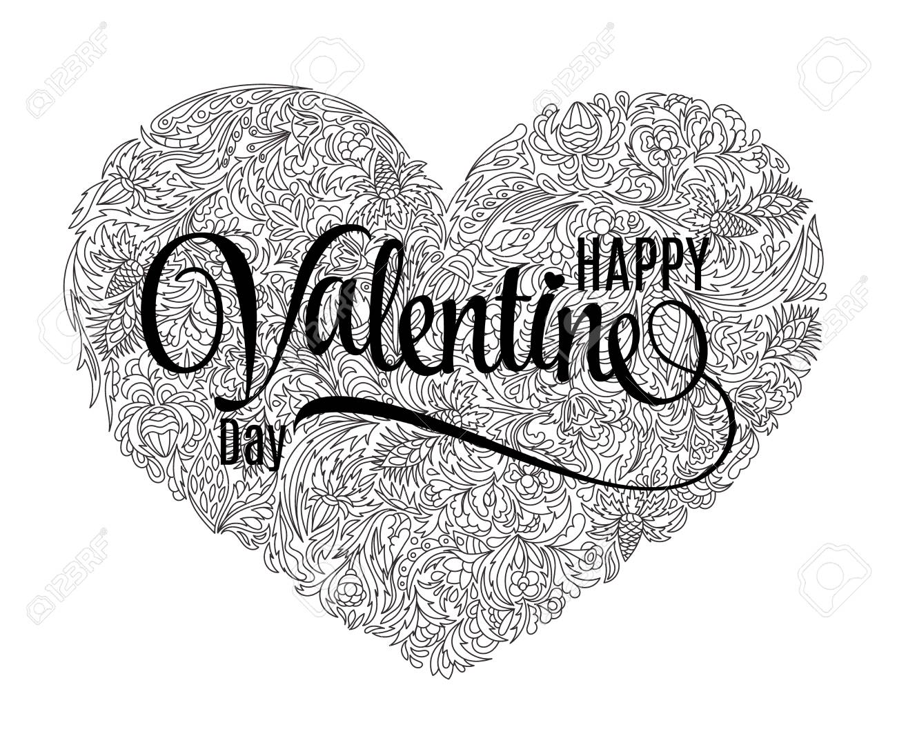 Vector Heart Shaped Pattern For Coloring Book Design In Doodle