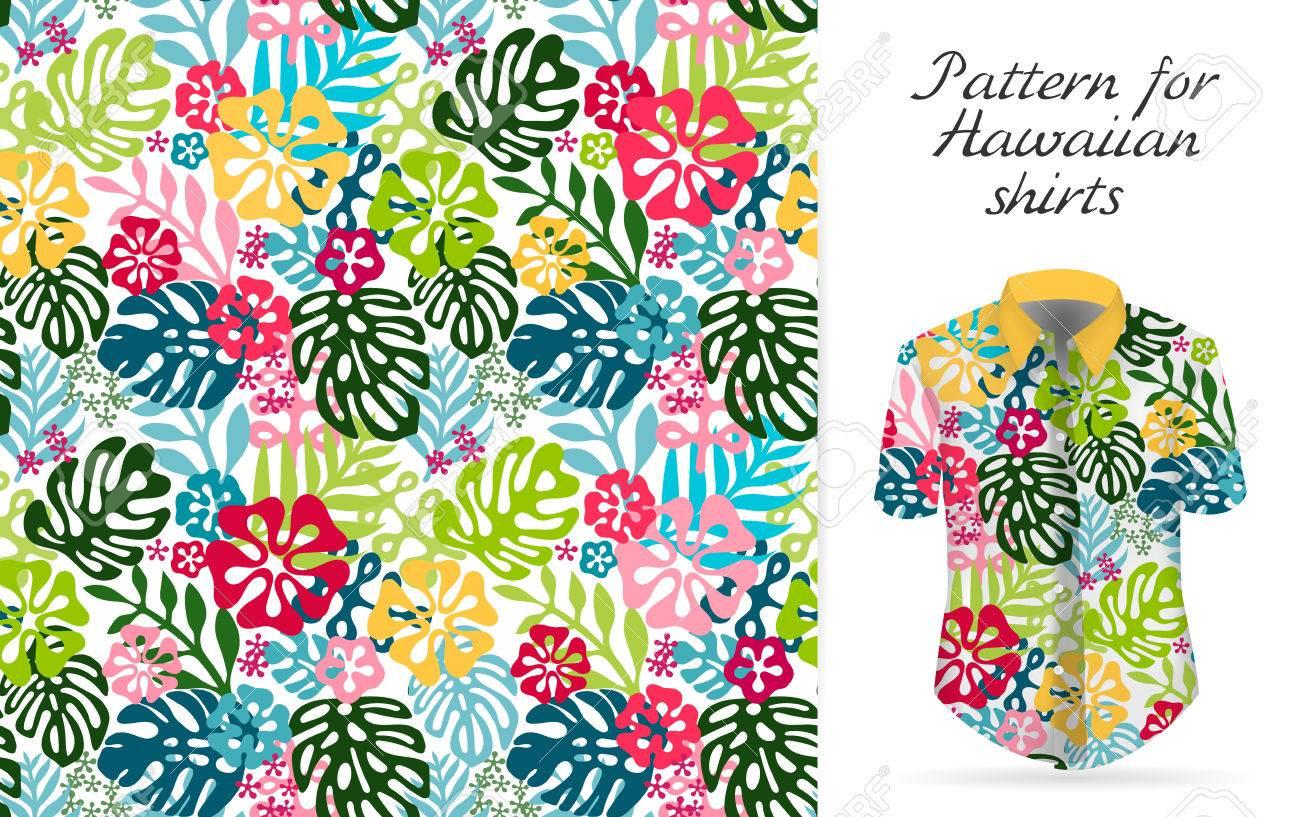 e0c3e0f3f Hawaiian aloha shirt. an icon in a flat style isolated on white background  Stock Vector