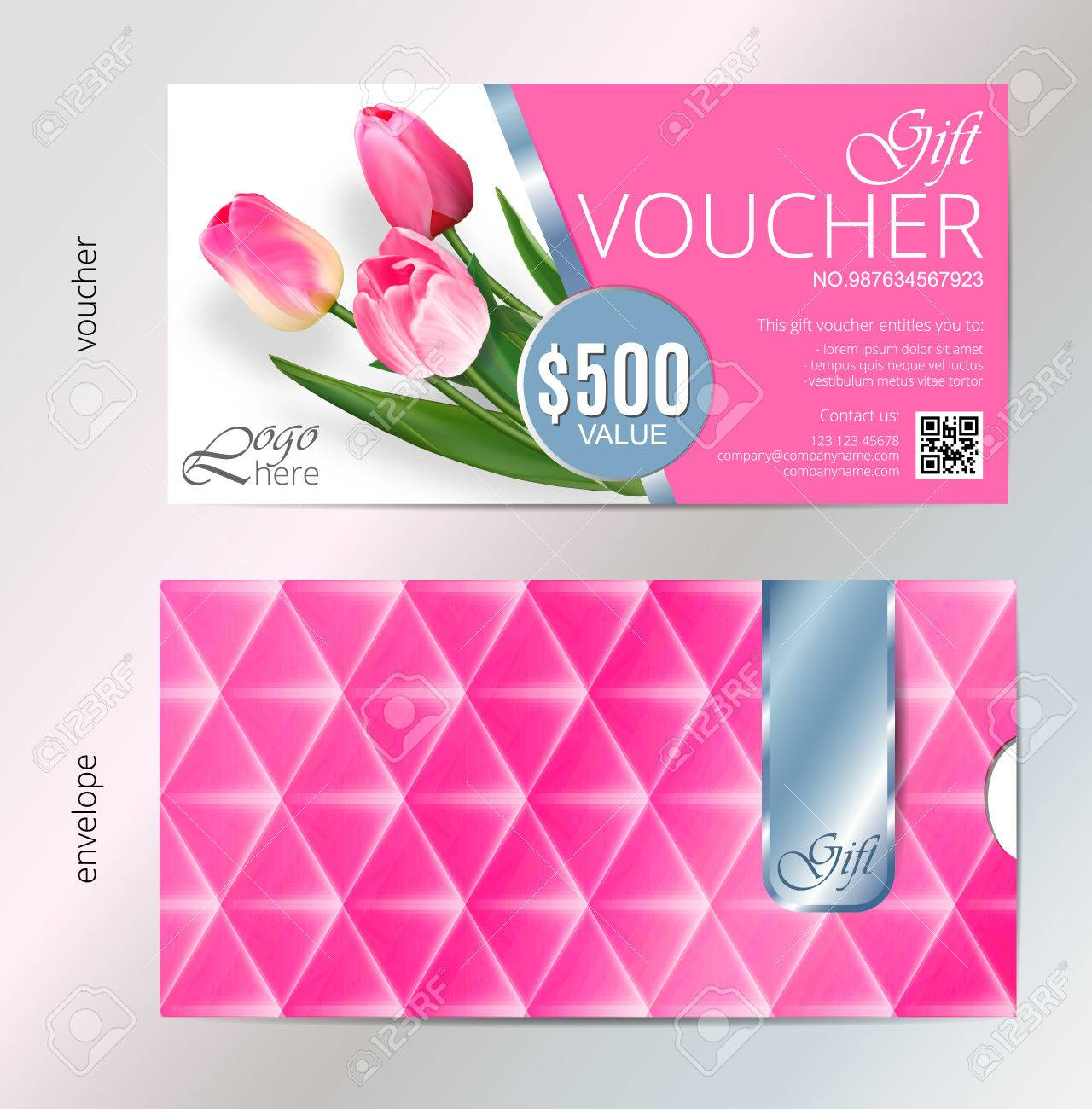 Gift voucher template with pink tulip flowers vector abstract gift voucher template with pink tulip flowers vector abstract background concept for boutique yelopaper Gallery