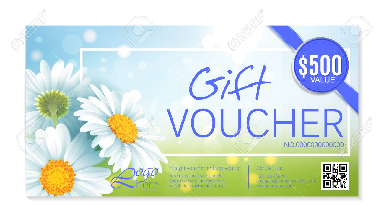 Gift Voucher Template With Delicate White Flowers Vector Abstract