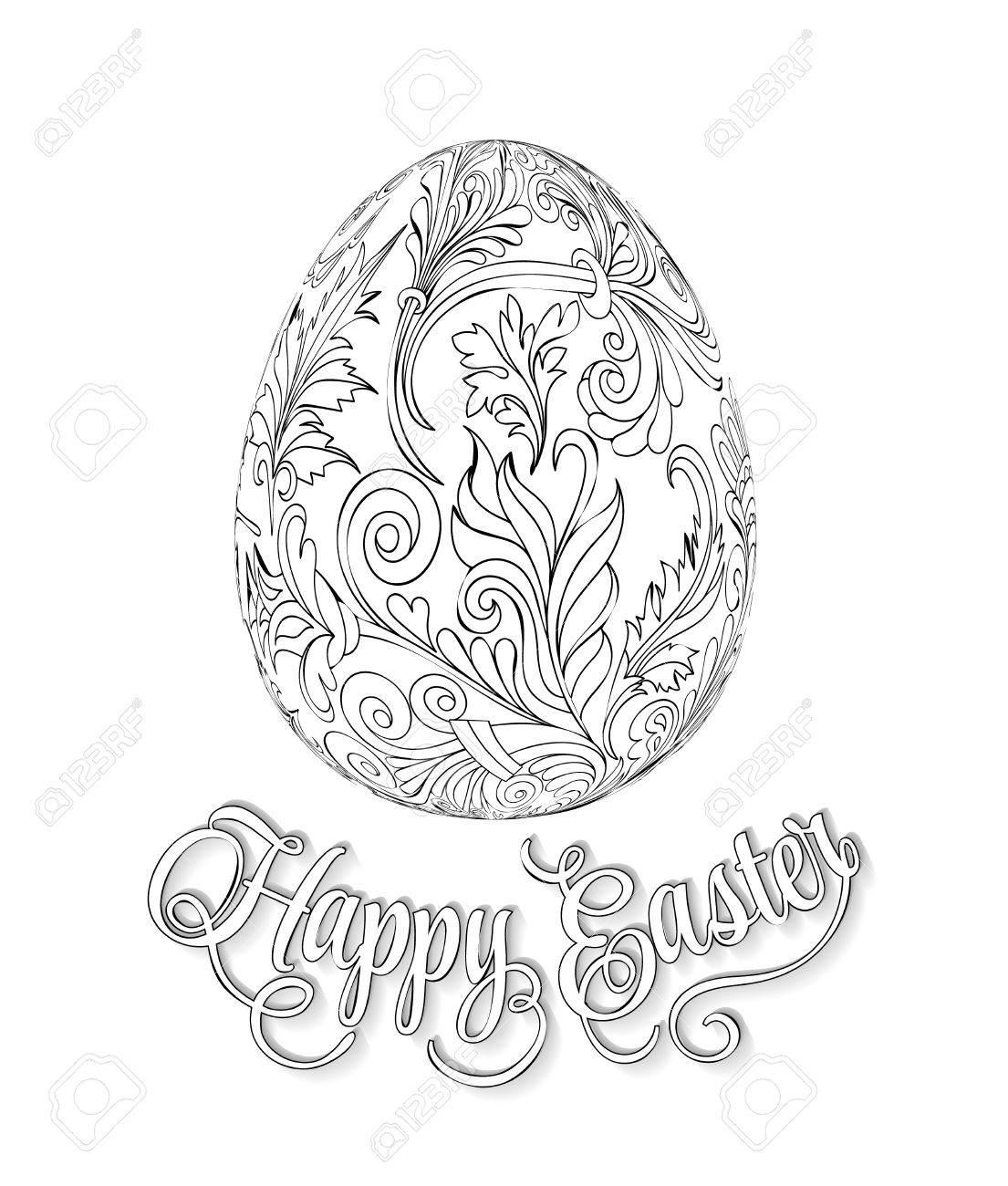 Uovo Di Pasqua Grigio Con Motivo In Stile Zentangle Libro Da