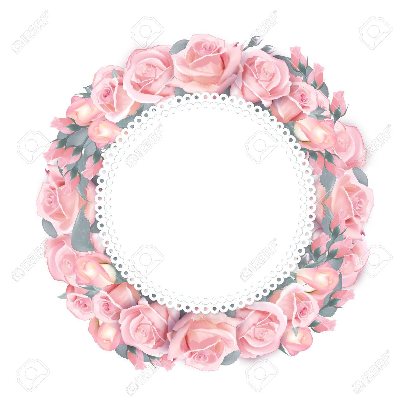Vector round frame wreath pattern with roses pink flower buds vector vector round frame wreath pattern with roses pink flower buds branches and leaves isolated on white background mightylinksfo
