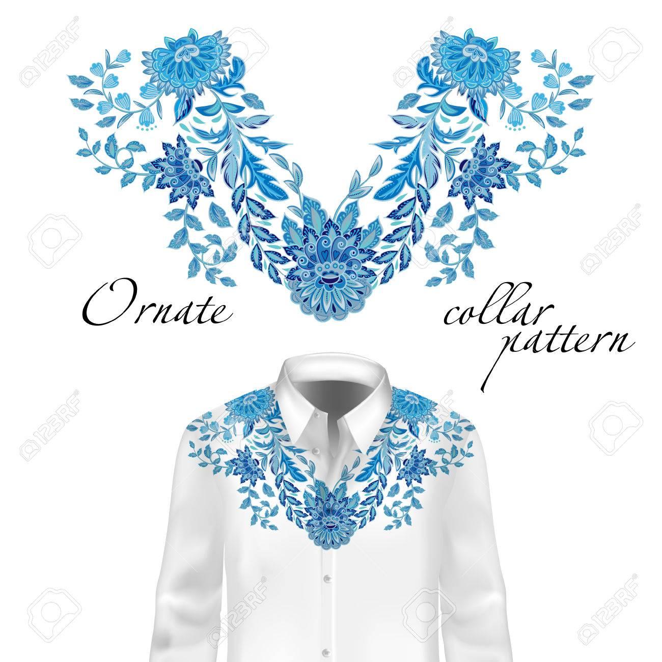 Patrón De Cuello De Flores étnicas Del Bordado - Moda De Gráficos De ...