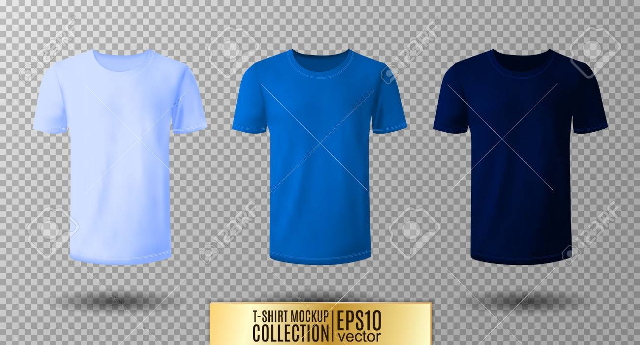 Shirt Mock Up Set T Shirt Template Light Normal And Dark Blue