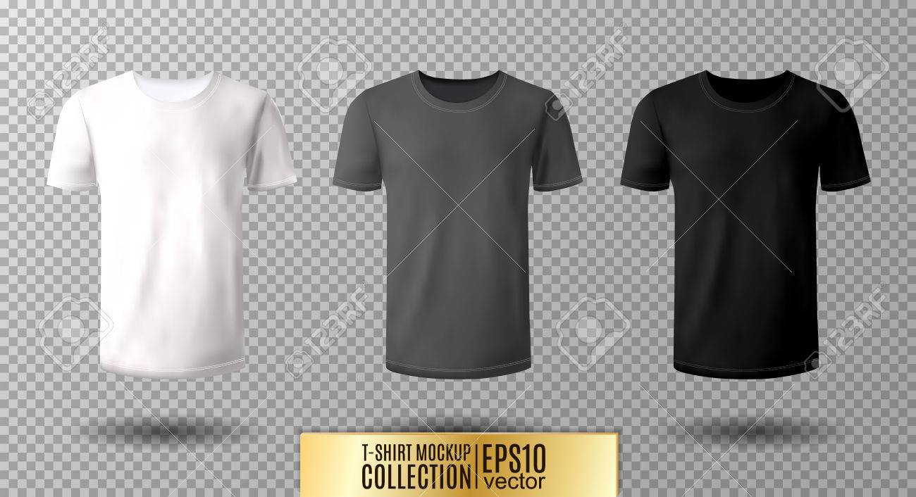 Shirt mock up set. T-shirt template. Black, gray and white version, front design. - 77005664