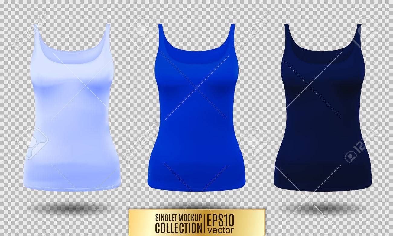 Blank Sport Tank Top For Women Template Set Light Bright And