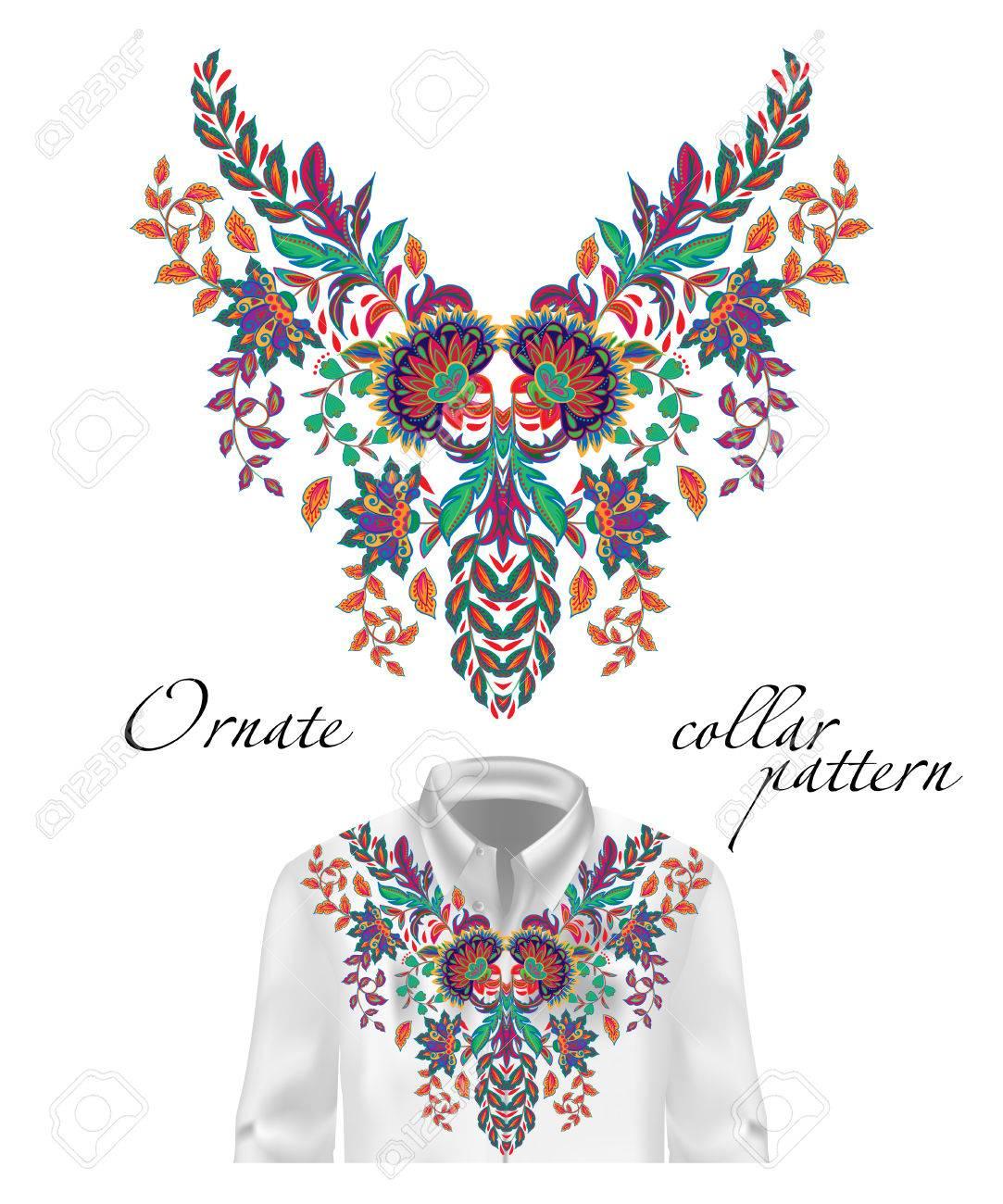 Vector Bordado étnico Flores Cuello Patrón. Flor Azul Diseño Gráfico ...