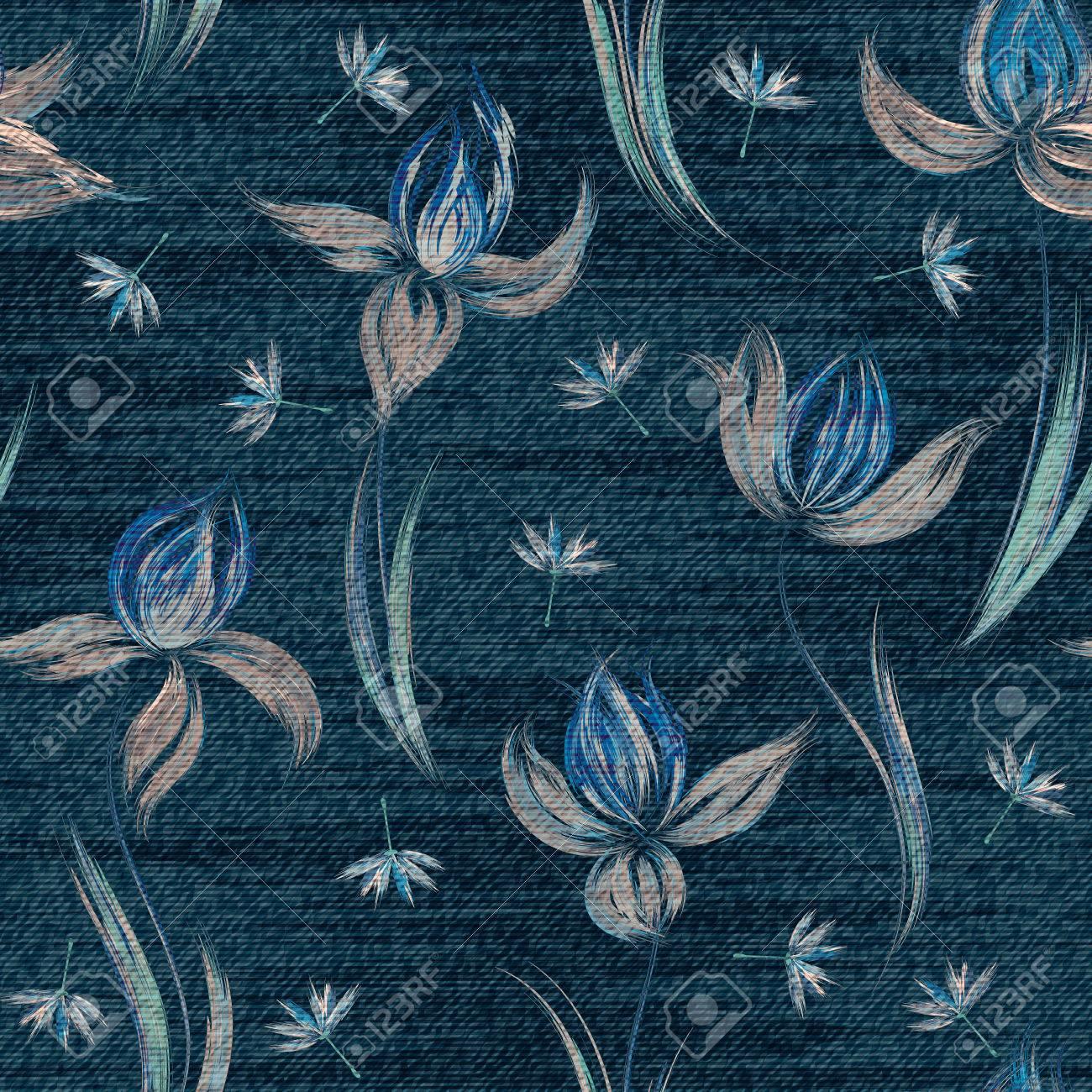 カラフルな花柄とブルーのデニム シームレスな壁紙 のイラスト素材
