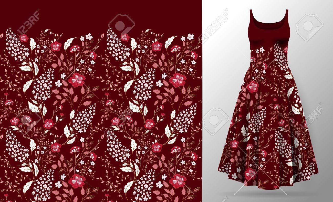 Flower embroidery on dress mock up  Cute little flowers seamless