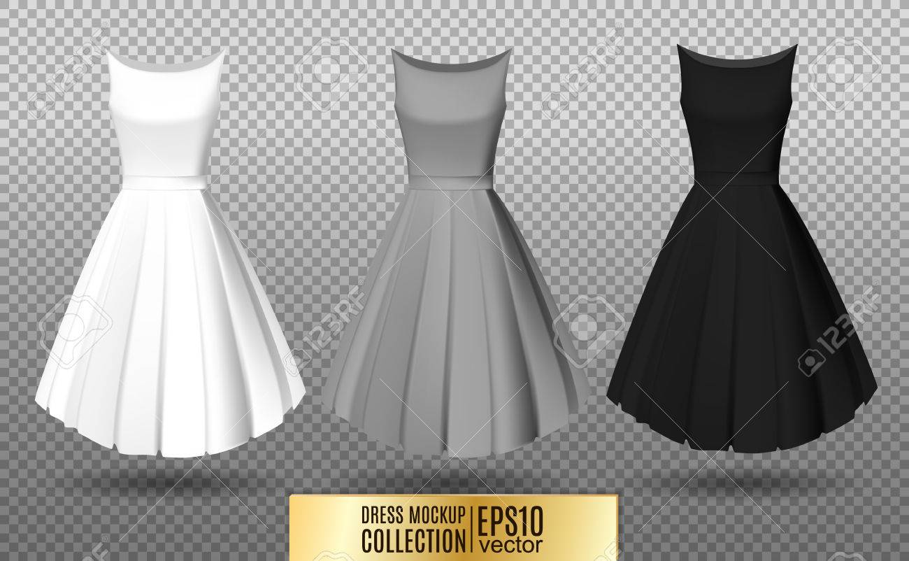 cf47eff2f4439c Vector - Womens dress mockup collection. Dress with long pleated skirt.  Realistic vector illustration. Fully editable handmade mesh.