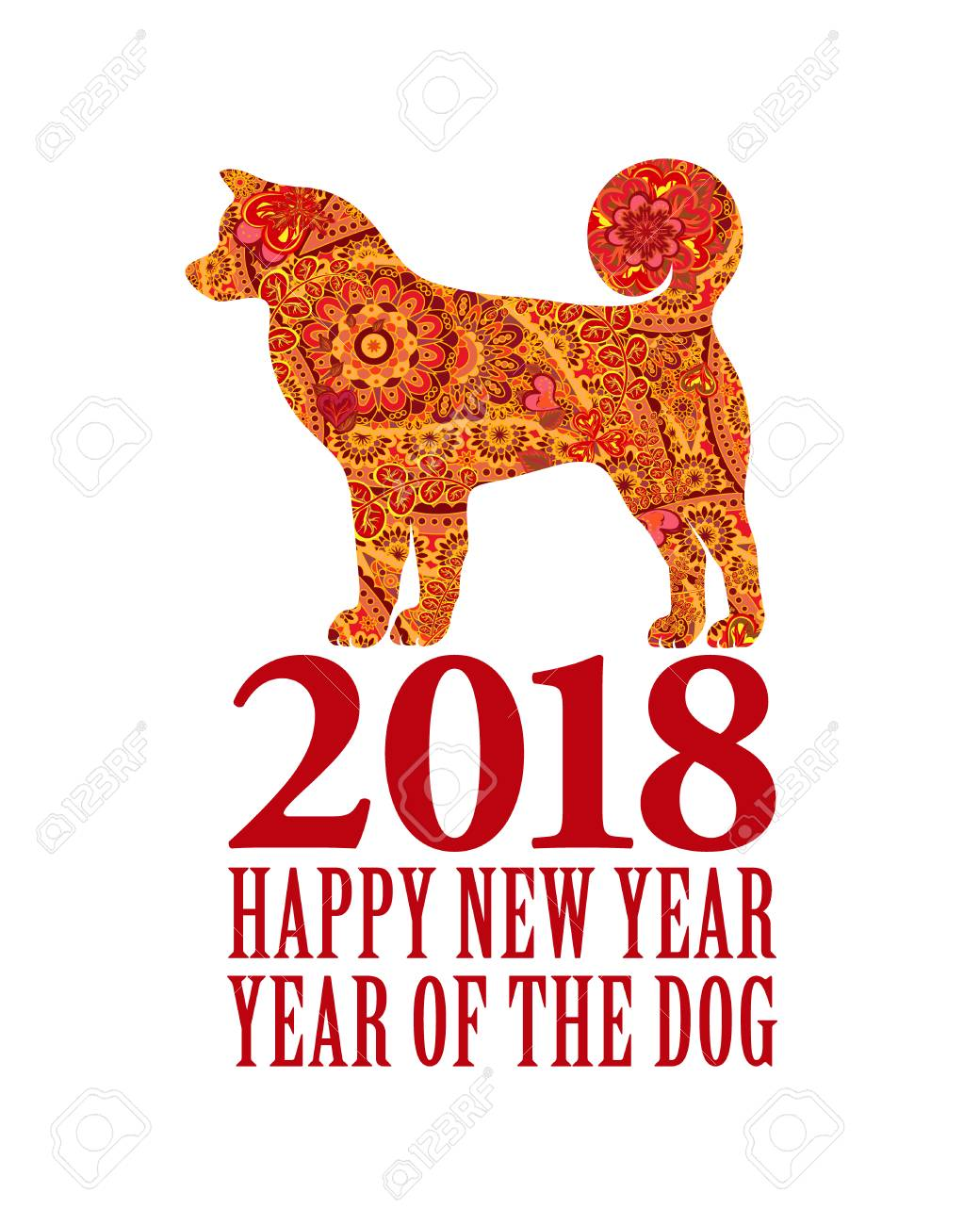 symbol of the 2018 chinese new year design for greeting cards calendars