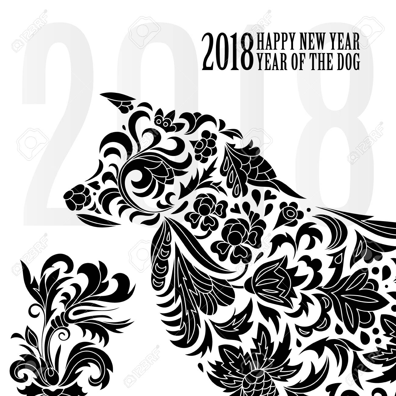2018 Greeting Chinese New Year Card With Stylized Dog One Color Print Vector