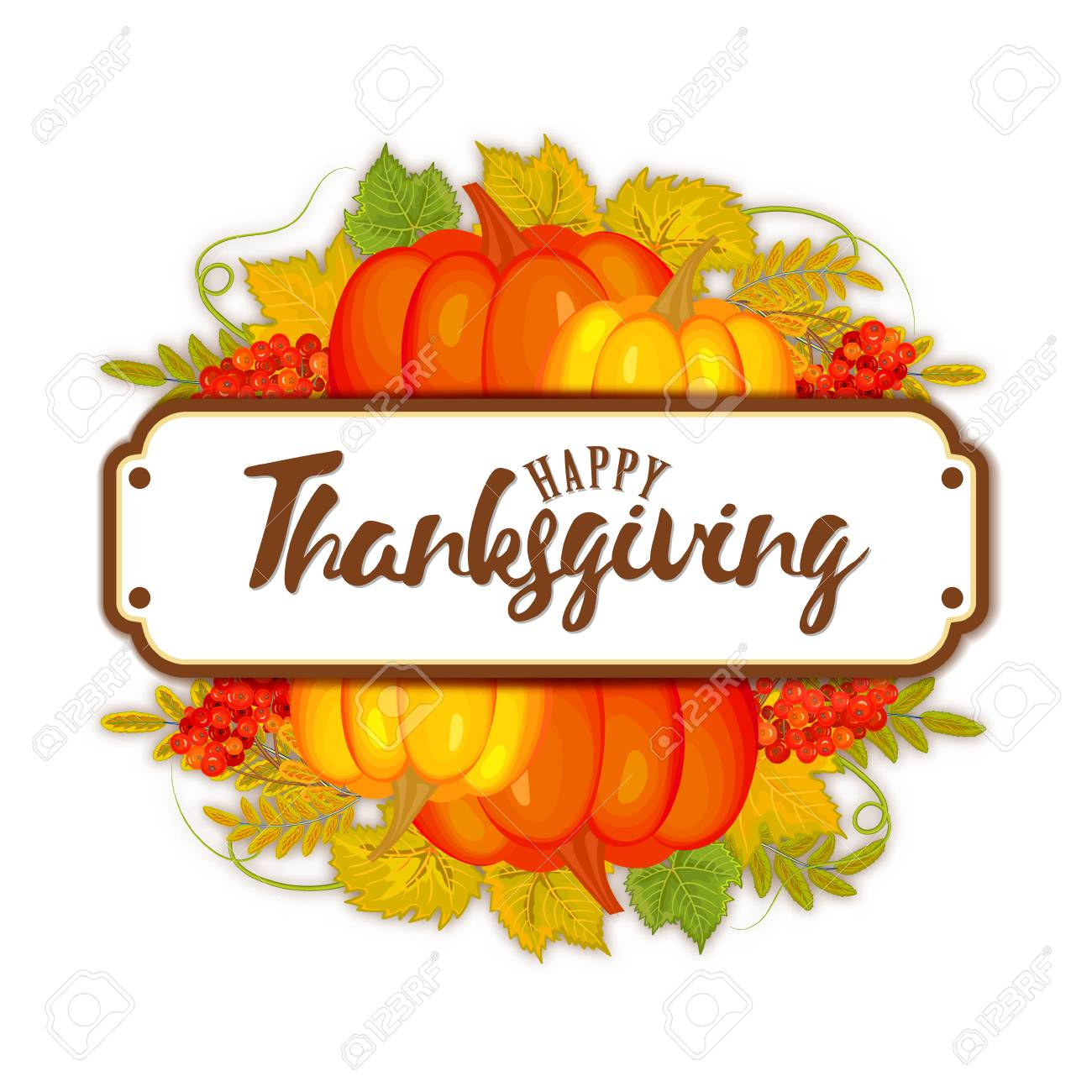 watercolor design style happy thanksgiving day icon happy