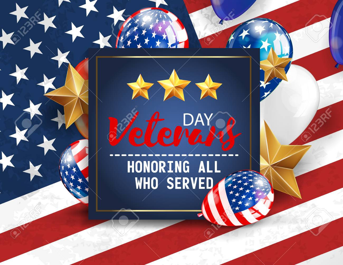 Veterans Day Greeting Illustration Navy Blue Plate With Lettering