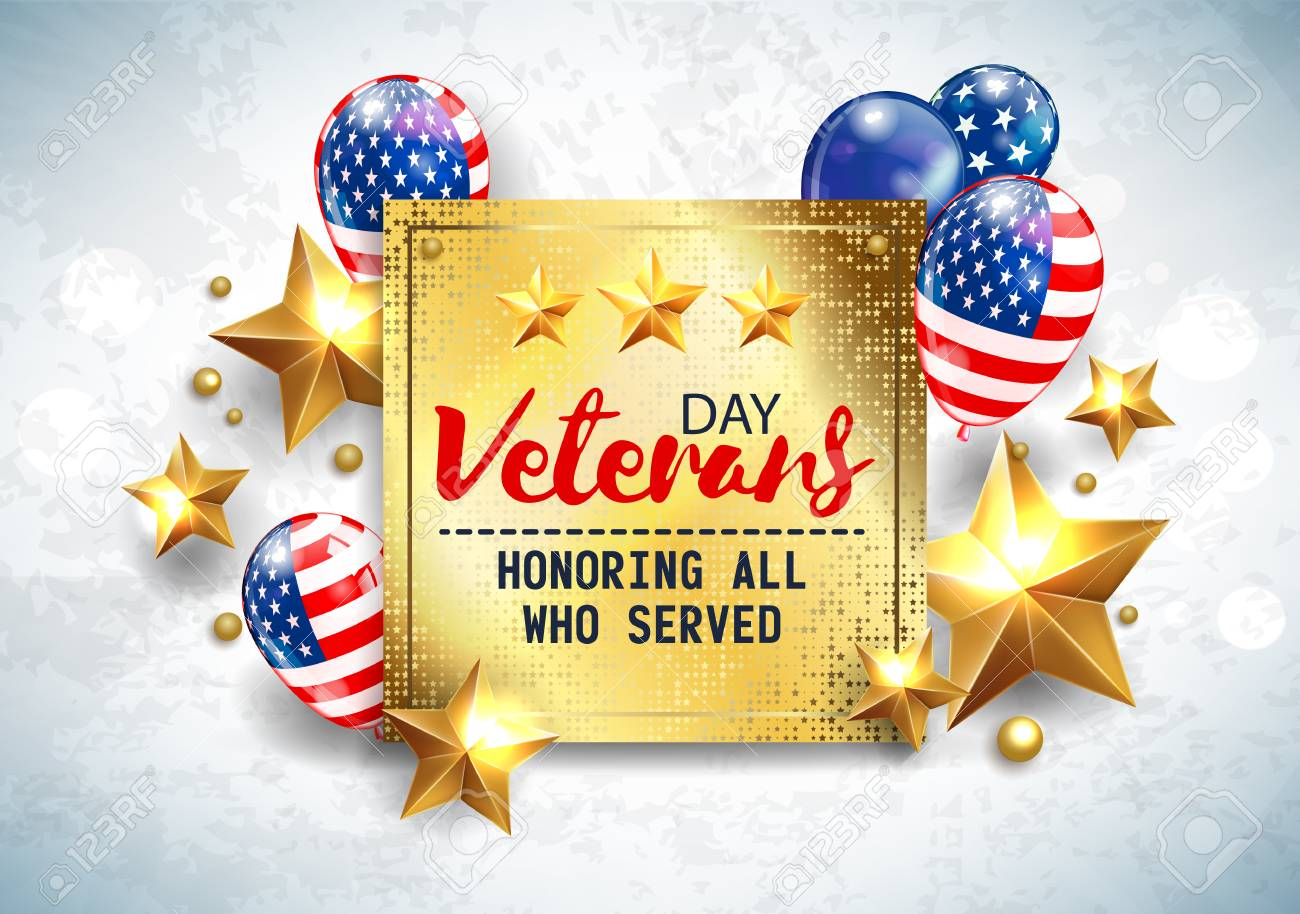 Veterans Day Greeting Illustration Golden Plate With Lettering