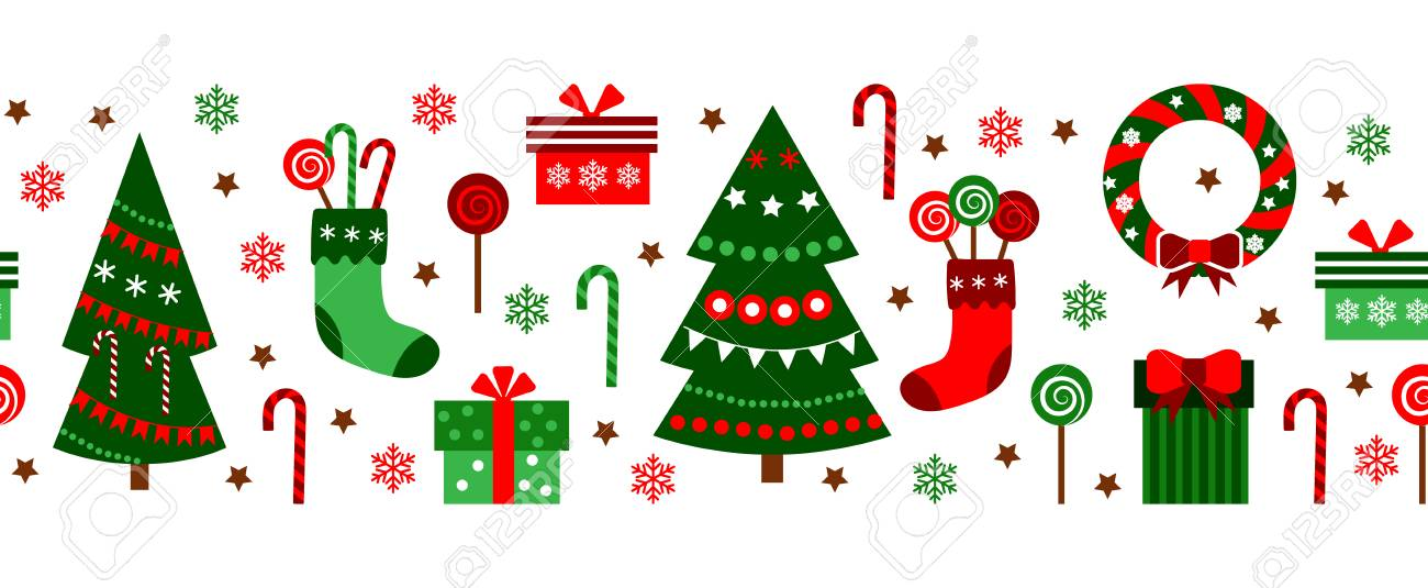 merry christmas decorations elements seamless pattern horizontal colorful border vector flat stock vector 91502555