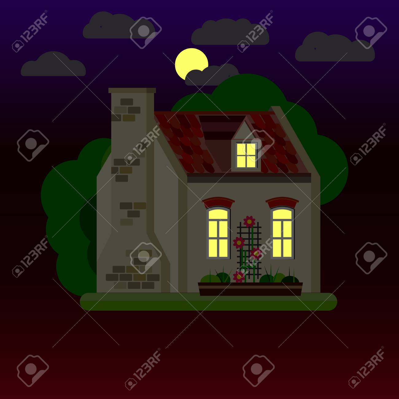flat illustrations of house at night one storey building vector
