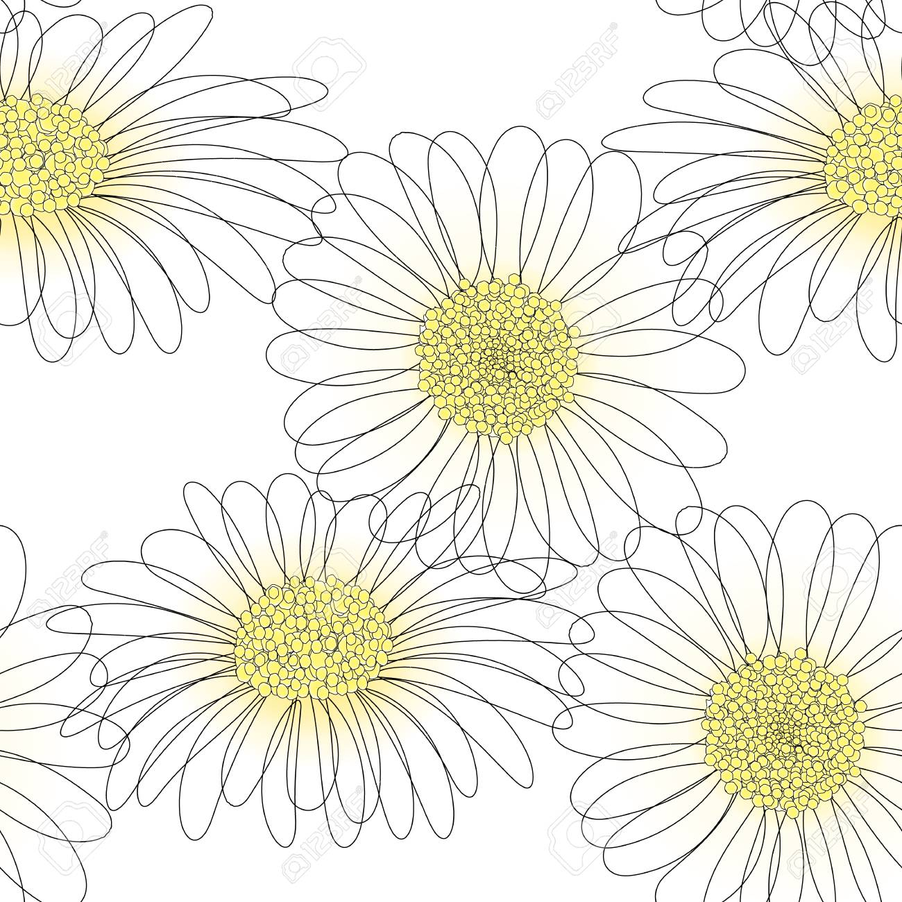 Vector Seamless Pattern With Drawing Daisy Flower Floral Background