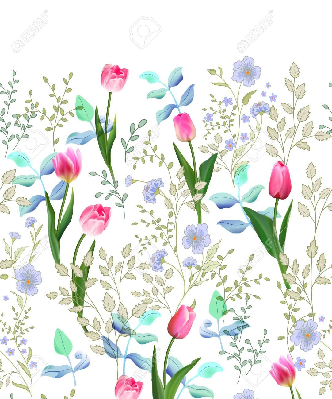 Spring Flowers Seamless Floral Border Vintage Vector Illustration