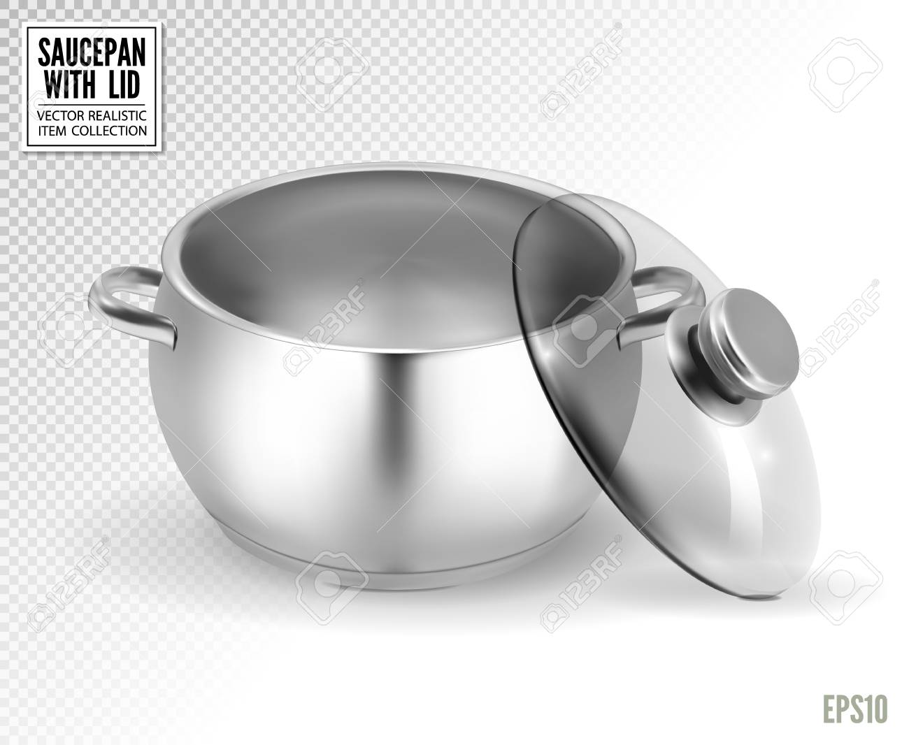 Steel saucepan with glass lid on a transparent background. Vector illustration template ready for your design. EPS10. - 110270665