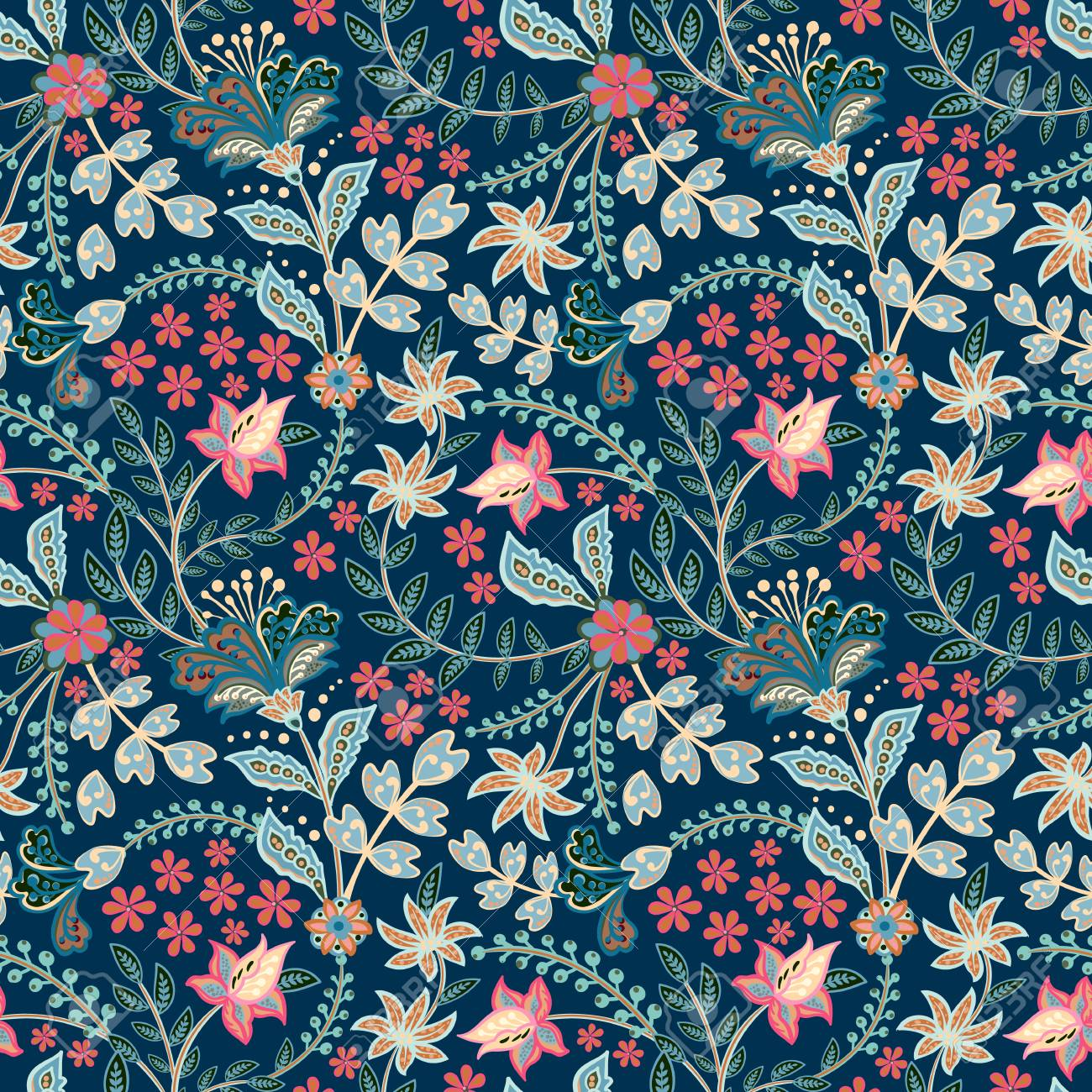 Retro hand draw flower pattern in the many kind of florals. Botanical Motifs scattered random. Seamless vector texture. For fashion prints. Printing with in hand drawn style on white background. - 126833375