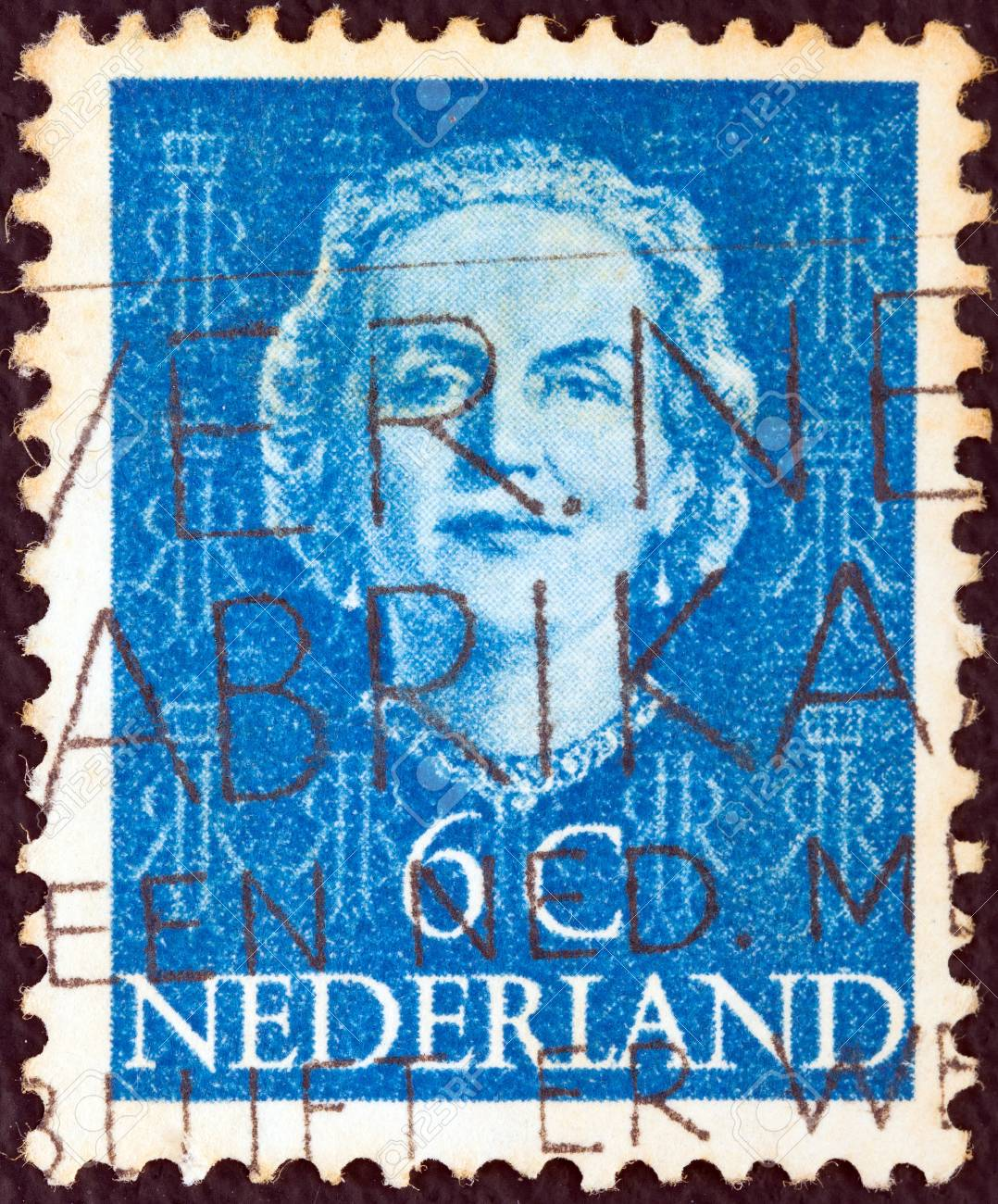 NETHERLANDS - CIRCA 1949: A stamp printed in the Netherlands shows Queen Juliana, circa 1949.  Stock Photo - 15740193