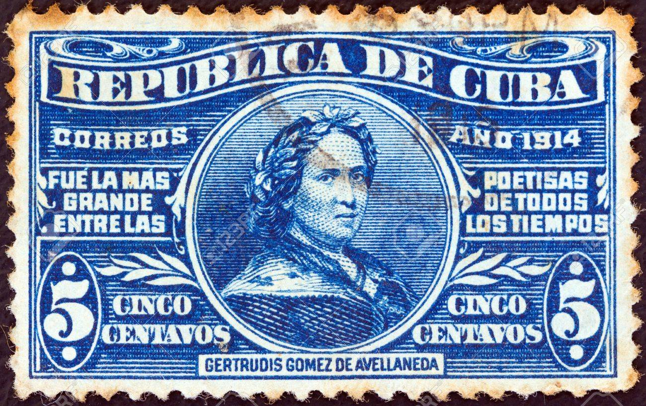 CUBA - CIRCA 1914: A stamp printed in Cuba issued for her birth centenary shows poetess Gertrudis Gomez de Avellaneda (1814-1873), circa 1914.  Stock Photo - 16337703