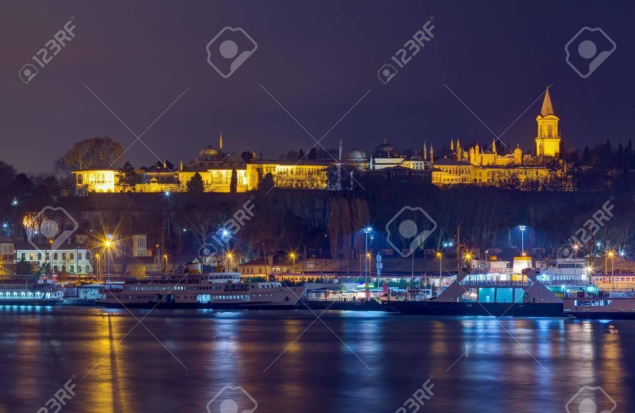 Night view of Topkapi Palace, Istanbul, Turkey Stock Photo - 17190397
