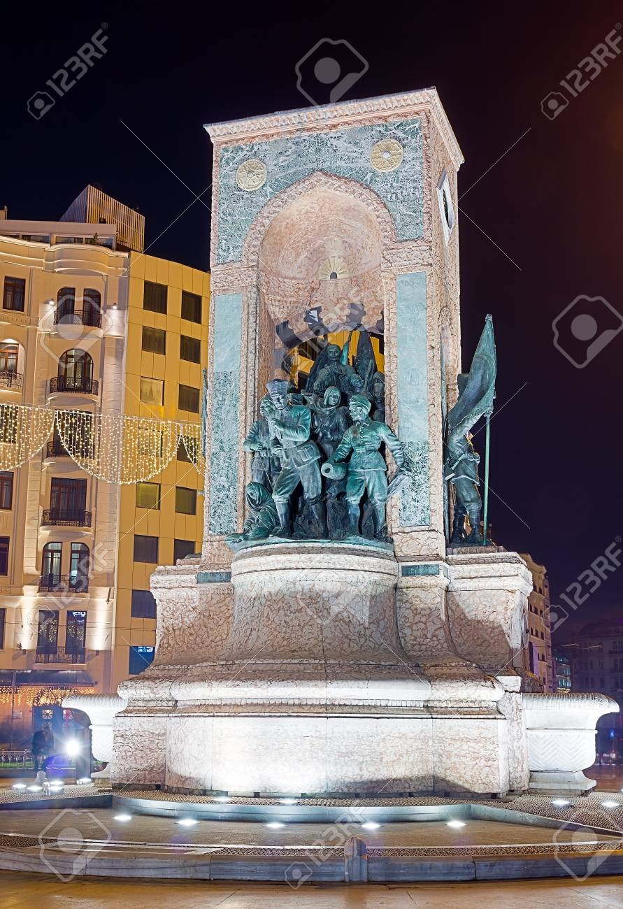 The Republic Monument at night, Taksim square, Istanbul, Turkey Stock Photo - 17190400